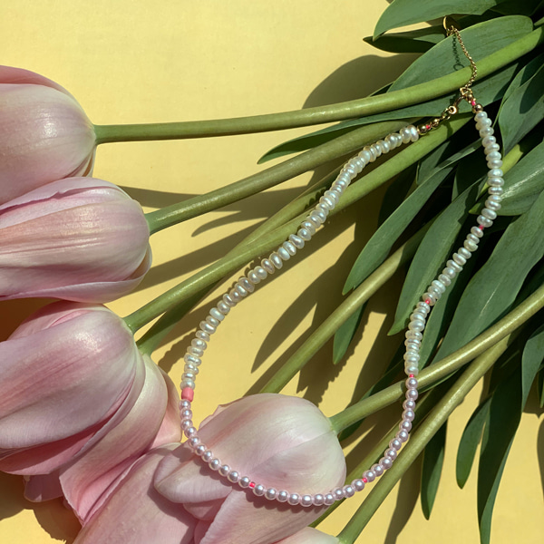 Pearl Spread Necklace_Pink