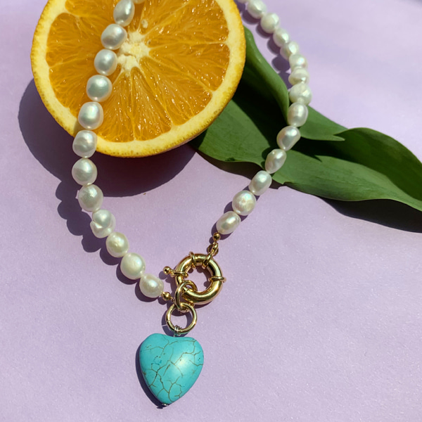 Turquoise Heart Pearl Necklace
