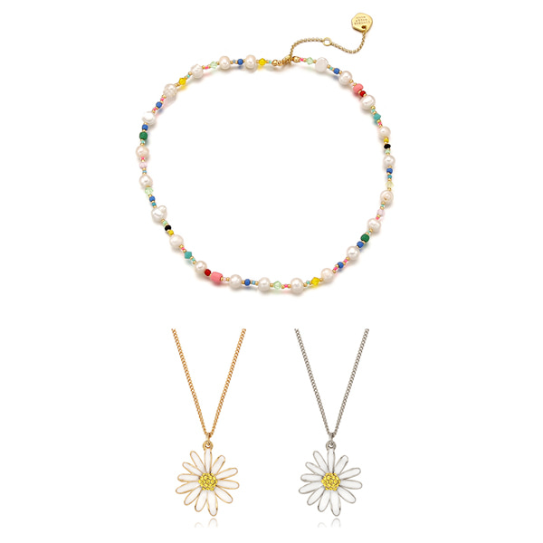 [세훈,나연,슬기,보라끌레르 착용][SET] Pearl n Crystal Beads Necklace+Vintage Daisy Necklace_2Color