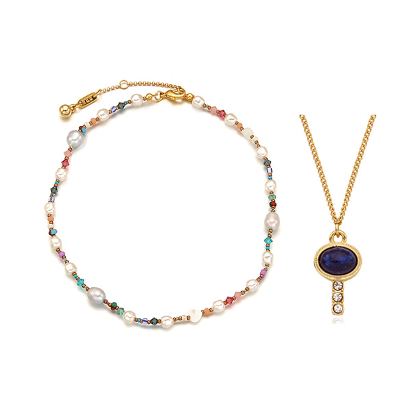 [2SET]Autumn Pearl n Crystal Beads+Piece of Luck Necklace