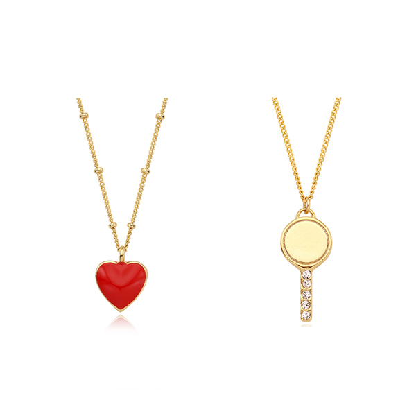 [2SET]Alice Heart n Promise Key Necklace