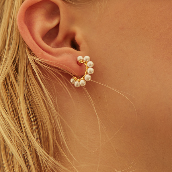 Pearly Hoop Earring(Small Size)_2Color