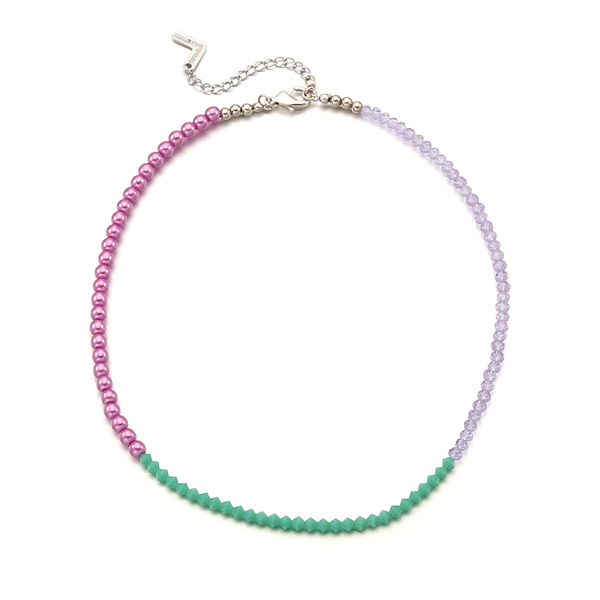 Color Spread Beads Necklace_Violet