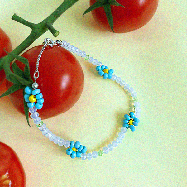 Flower Beads Anklet_Blue